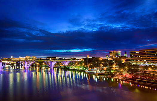 Knoxville skyline and river at night