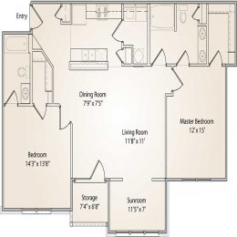 Two bedroom two bathroom floor plan